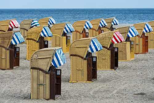 image, عکسی زیبا از دکه های کنار ساحل برای تعویض لباس در آلمان