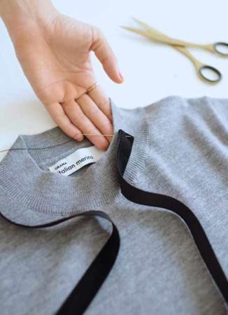 image, آموزش دوخت روبان برای تزیین یقه لباس های ساده