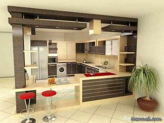 image ایده های شیک و جدید طراحی کابینت آشپزخانه با mdf