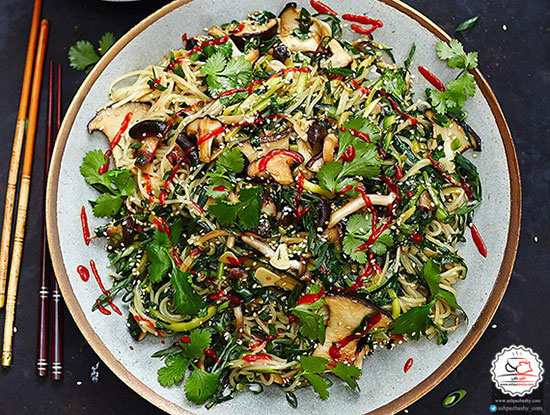 image آموزش پخت غذای چینی نودل سبزیجات