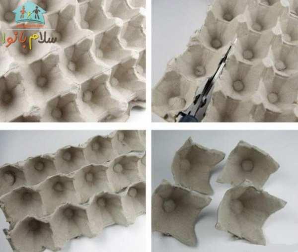 image, آموزش عکس به عکس ساخت گل رز تزیینی با جعبه تخم مرغ