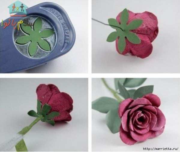 image آموزش عکس به عکس ساخت گل رز تزیینی با جعبه تخم مرغ