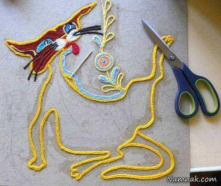 image, آموزش تصویری ساخت تابلوی تزیینی با خرده کاموا