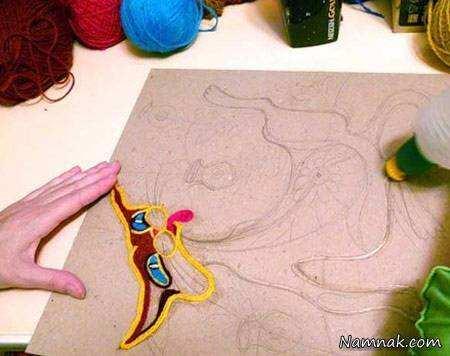 image آموزش تصویری ساخت تابلوی تزیینی با خرده کاموا