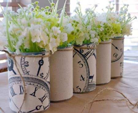 image آموزش تصویری ساخت گلدان های بهاری با قوطی خالی