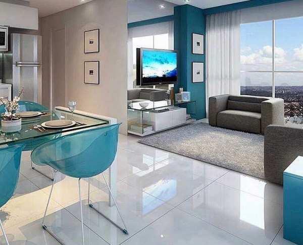 image, ایده دکوراسیون منزل با ترکیب رنگ آبی و طوسی
