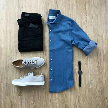 image, ست کردن شلوار جین سیاه با پیراهن مردانه آبی