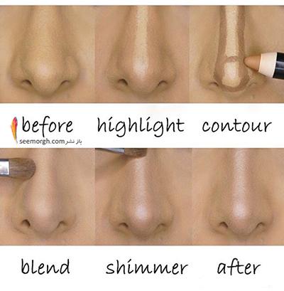 عکس, آموزش کوچک نشان دادن بینی با آرایش