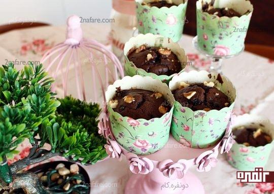 image آموزش تصویری پخت مافین شکلاتی موز
